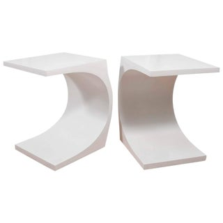 Modeline Curvaceous Cantilevered End Tables - A Pair
