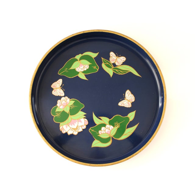 Vintage Blue Lacquered Lotus Flower Serving Tray - Image 3 of 6