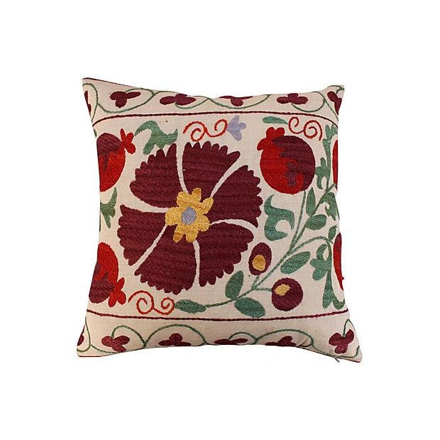 Suzani Embroidered Pillows - A Pair - Image 2 of 6