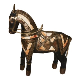 Antique Handcrafted Copper Brass & Ivory Horse