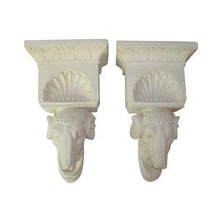 Large Ram's Head Wall Brackets - Pair