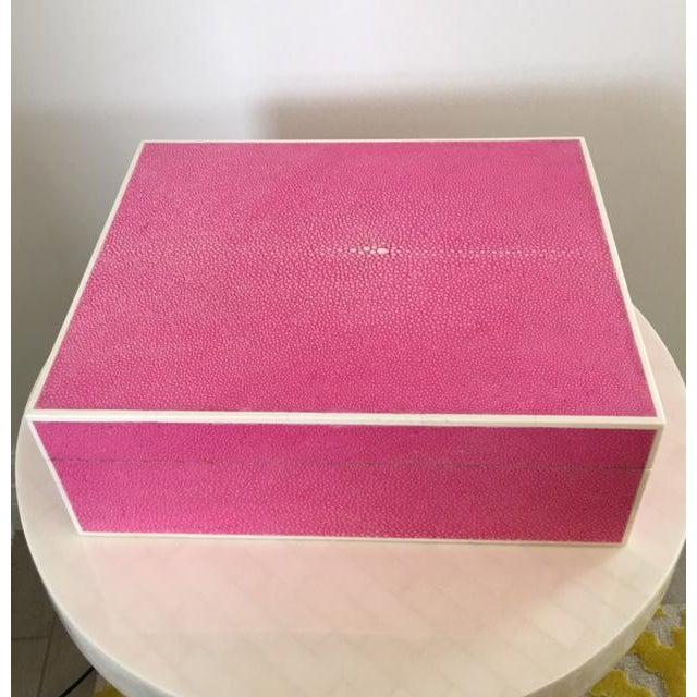 Hot Pink Shagreen Box - Image 2 of 5