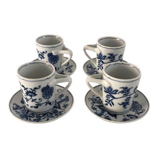 Blue & White Cups & Saucer - Set of 4