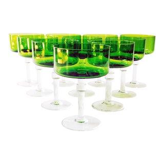 Vintage Green Cocktail Glasses - Set of 10