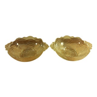 Handled Glass Candy Dishes - A Pair