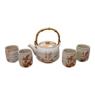 Japanese White Shino Glaze Tea Set - Set of 5