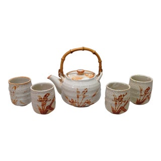 Japanese White Shino Glaze Tea Set - Set of 5