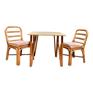Ficks Reed Style Mid Century Rattan Breakfast Dining Set