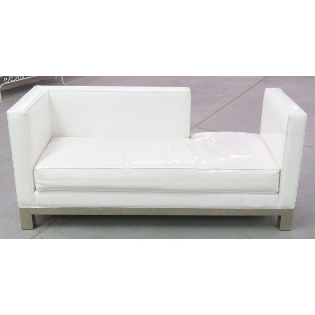 Image of J.A. Casillas White Vinyl Sofa - Right