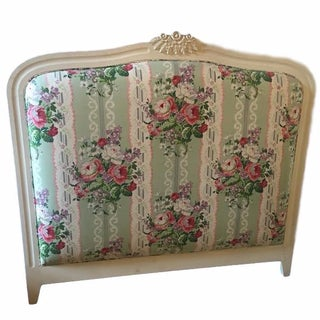 White & Floral Full-Size Headboard