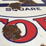 Image of Large Be Square Motor Oil Sign Vintage Industrial