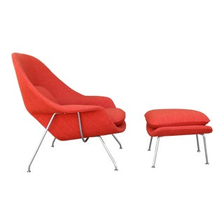Knoll Orange Chair and Ottoman