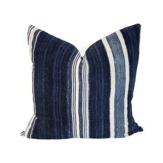 Vintage Mali Indigo and Linen Pillow 24 X 24