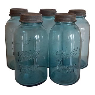 Vintage Half Gallon Aqua Ball Mason Jars - Set of Five