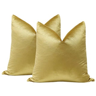 "22"" Gold Italian Silk Velvet Pillows - A Pair"