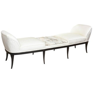 Ebonized Wood Italian Marble and Upholstered Bench, Settee, Chaise or Recamier