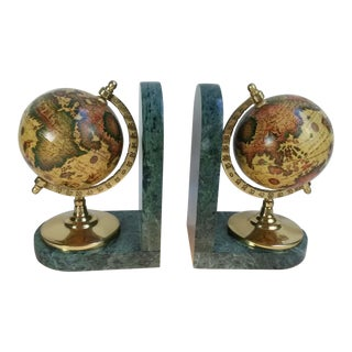 Old World Globe Bookends on Solid Green Marble - A Pair