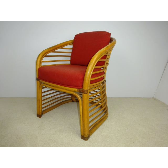 Mid-Century Deco Stylized Rattan Arm Chair - Image 2 of 10
