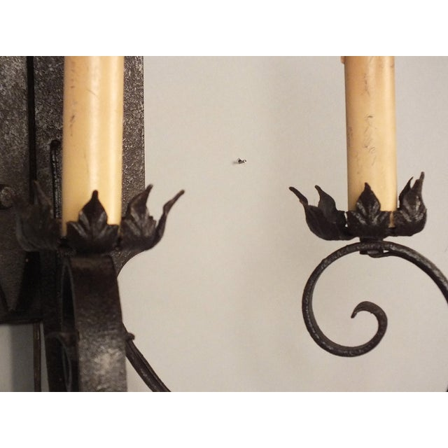 Spanish Iron Wall Sconces : Iron & Wood Spanish Wall Sconces - A Pair Chairish