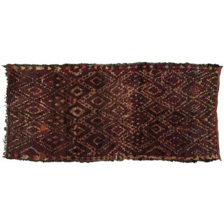Berber Moroccan Runner with Tribal Design, 5'2x11'1