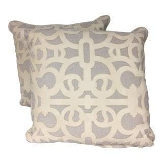 Cream & Gray Pillows - A Pair