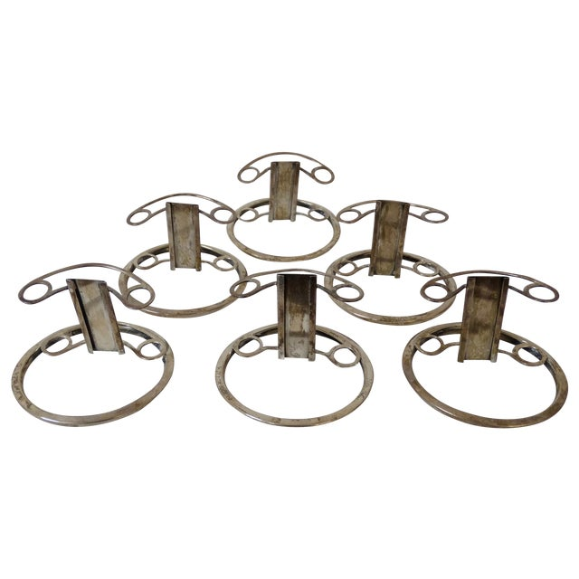 Glass & Silver Ashtray/Place Card Holders - S/6 - Image 1 of 5