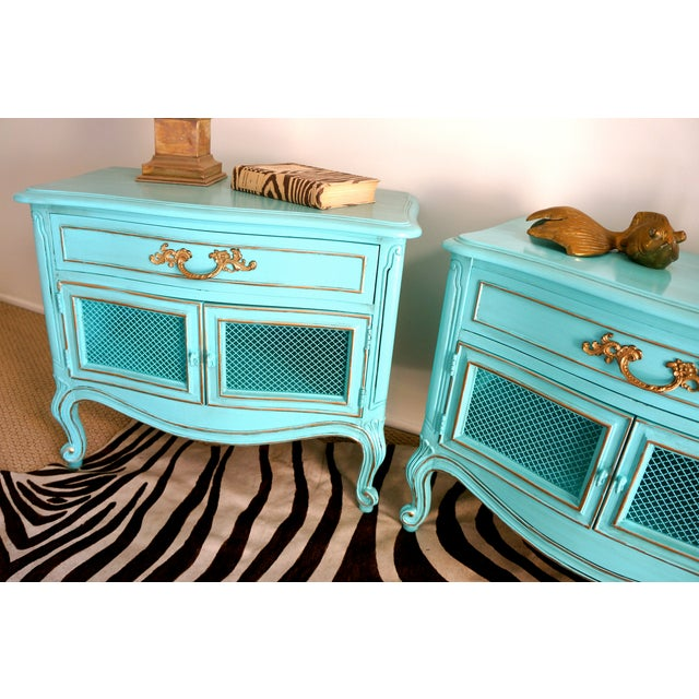 French Style Turquoise Nightstands - Pair - Image 5 of 10