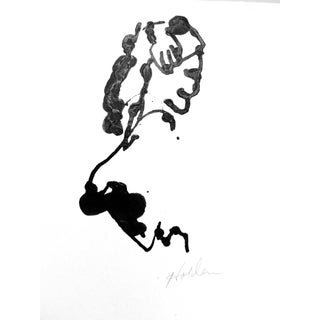 French Abstract Ink Drawing of a Woman