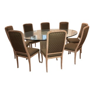 Custom Glass-Topped Oval Dining Table & Chairs - Set of 9
