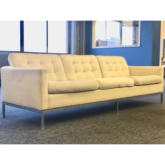Mid-Century Modern Florence Knoll Cream Colored Wool and Chrome Three Seat Sofa - Image 3 of 7