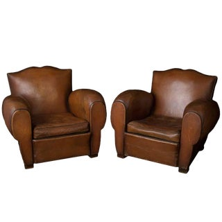 Pair Kingsize French Mustache Leather Club Chairs