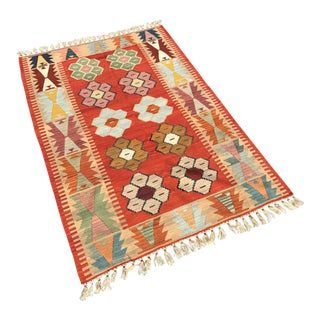 Turkish Handwoven Wool Kilim Rug - 3′1″ × 5′6″