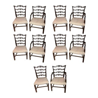 Ladder Back Chippendale Style Dining Chairs - Set of 10