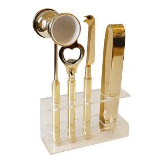 Mid-Century Lucite & Brass Bar Tool Set - Set of 5