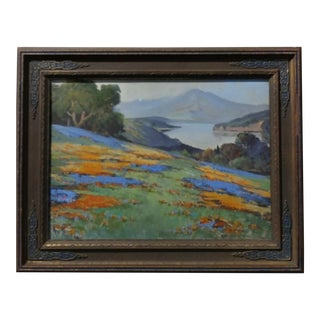 Arthur Best - California Wild Flower Landscape-Beautiful impressionist oil Painting-c.1910