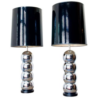 Pair of Mid Century Modern Chrome Lamps