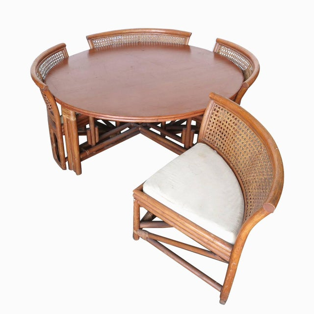 Rattan & Wicker Dining Table & Four Hidden Chairs - Image 3 of 10