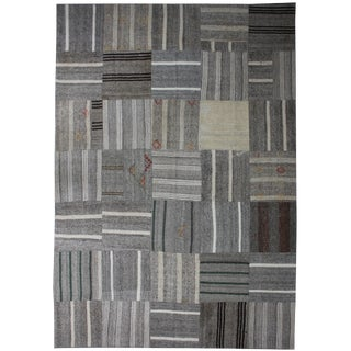 """Hand Knotted Antique Patchwork Kilim - 13'9"""" x 9'7"""""""