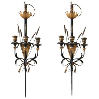 Sword and Wheat Motif Black and Gold Sconces - A Pair