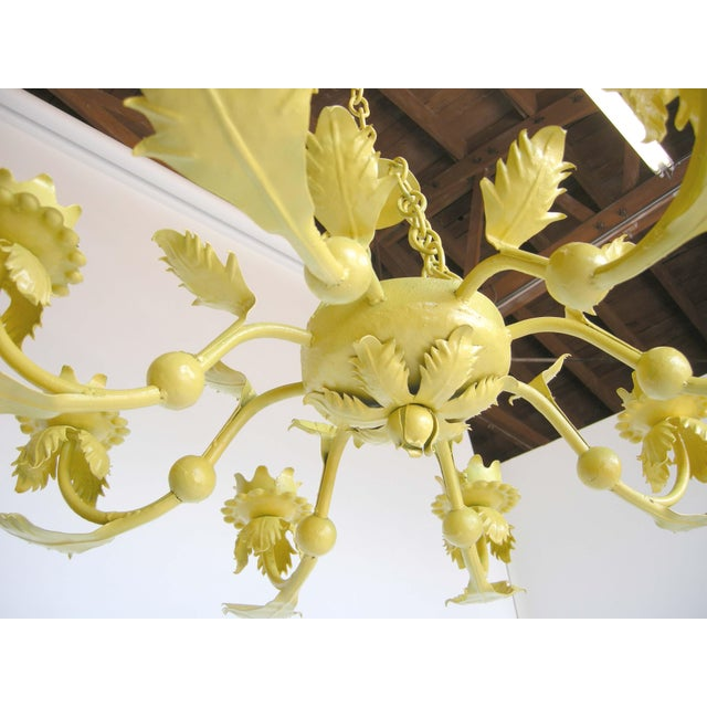 Canary Yellow Wrought Iron Chandelier - Image 3 of 6