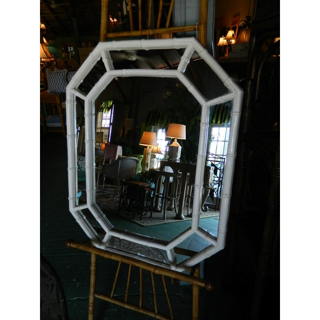 Image of Vintage White Lacquer Faux Bamboo Mirror