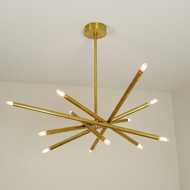 "Model 120 Sculptural Brass ""Nest"" Chandelier by Blueprint Lighting - Image 10 of 13"
