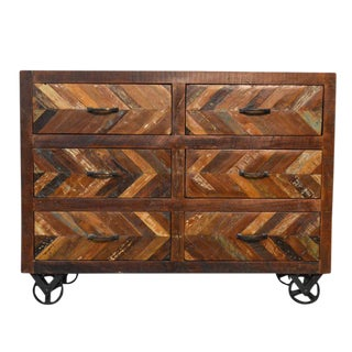 Reclaimed Sideboard Buffet Table on Iron Wheels