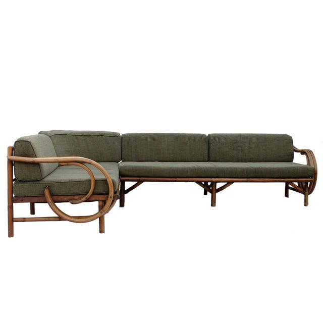 Mid-Century Rattan Sectional Sofa - Image 3 of 11