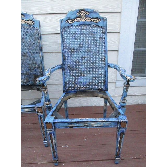 Hand Painted French Provincial Gold Gilt Antique Dining Chairs - Set of 4 - Image 3 of 11