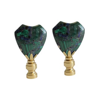 Malachite and Azurite Finials - A Pair