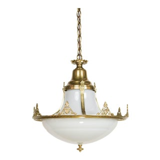 White Glass Pendant With Brass Framing