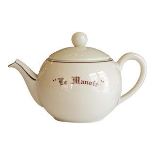 """Vintage French """"Le Manoir"""" Large Porcelain Teapot"""