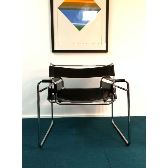 Wassily Style Chair in Black Leather and Chrome - Image 6 of 8