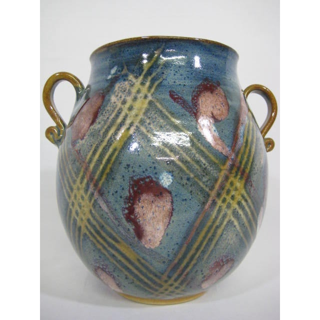 Blue Double Handle Art Pottery Vase - Image 4 of 8